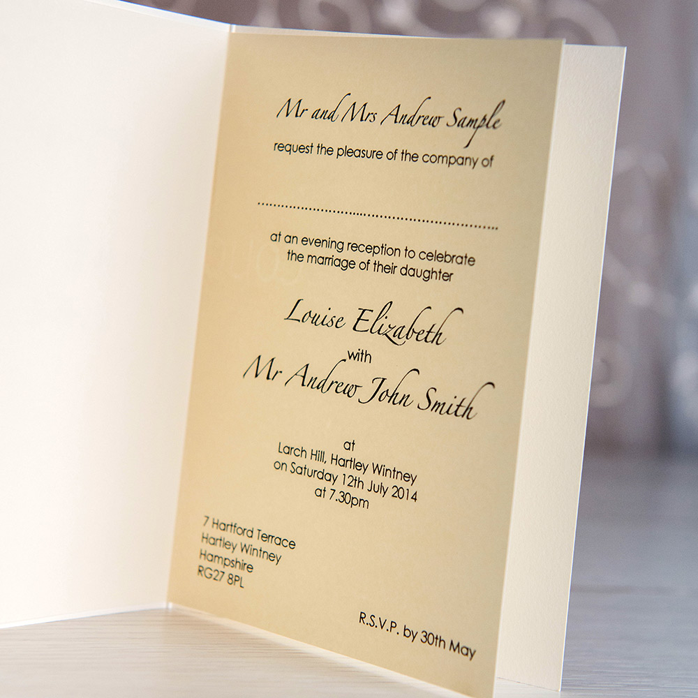Wedding Gift List Evening Guests : Home Divine Evening Invitation